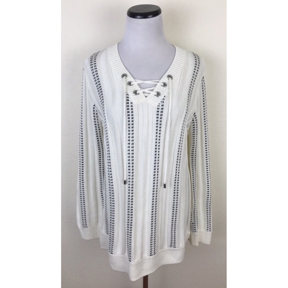 Calvin Klein Cable Knit Lace Up Sweater Medium